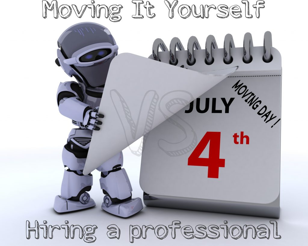 Which is more time-efficient, moving it yourself or professionals?